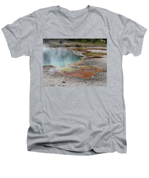 Men's V-Neck T-Shirt featuring the photograph Hot Water At Yellowstone by Laurel Powell