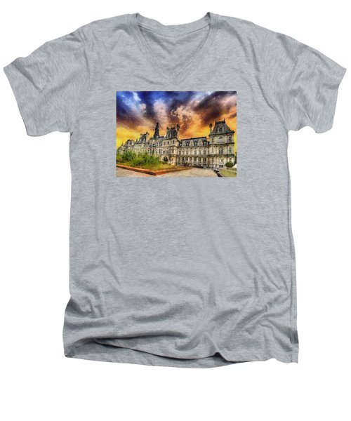 Men's V-Neck T-Shirt featuring the photograph Sunset At The Hotel De Ville by Charmaine Zoe