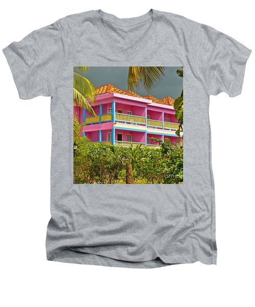 Hotel Jamaica Men's V-Neck T-Shirt by Linda Bianic