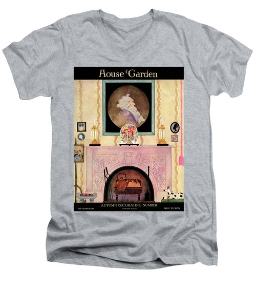 House And Garden Autumn Decorating Number Cover Men's V-Neck T-Shirt