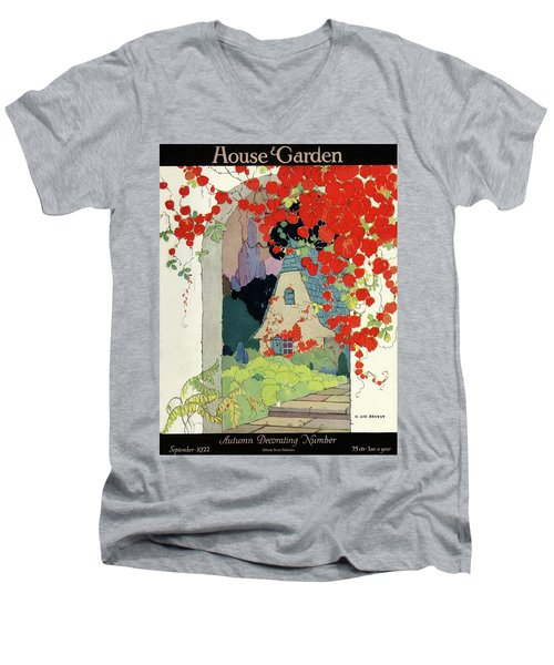 House And Garden Autumn Decorating Number Men's V-Neck T-Shirt