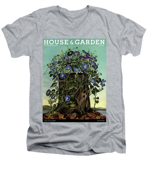 House And Garden Cover Featuring Flowers Growing Men's V-Neck T-Shirt