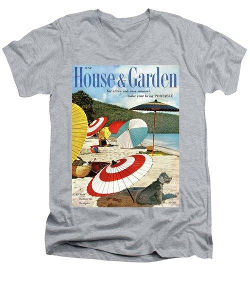 House And Garden Featuring Umbrellas On A Beach Men's V-Neck T-Shirt