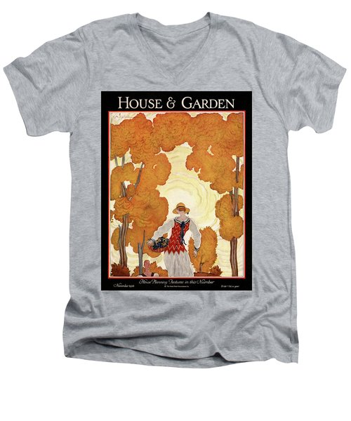 House And Garden House Planning Number Cover Men's V-Neck T-Shirt
