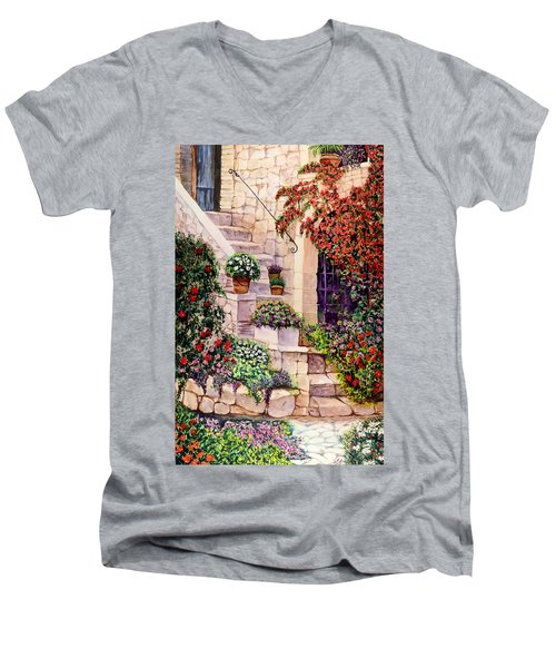 Men's V-Neck T-Shirt featuring the painting House In Oyster Bay by Sher Nasser