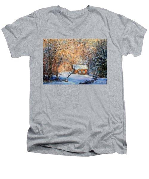 House In The Winter Forest  Men's V-Neck T-Shirt