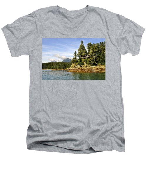 Men's V-Neck T-Shirt featuring the photograph House Upon A Rock by Cathy Mahnke