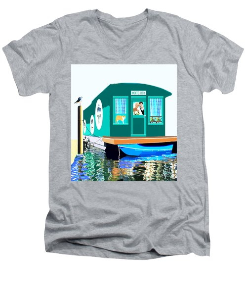 Men's V-Neck T-Shirt featuring the painting Houseboat by Marian Cates