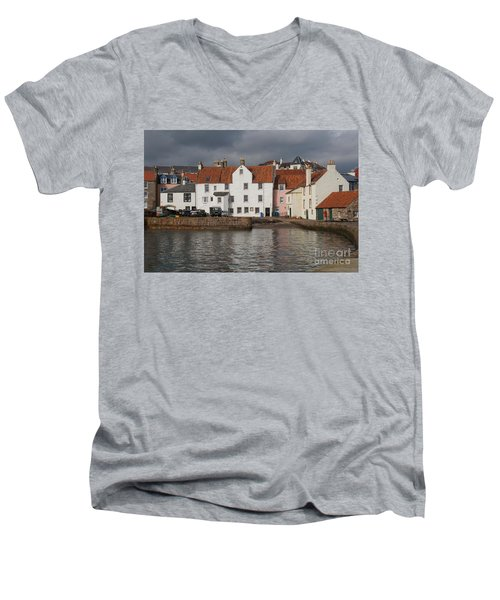 Houses At Pittenweem Harbor Men's V-Neck T-Shirt