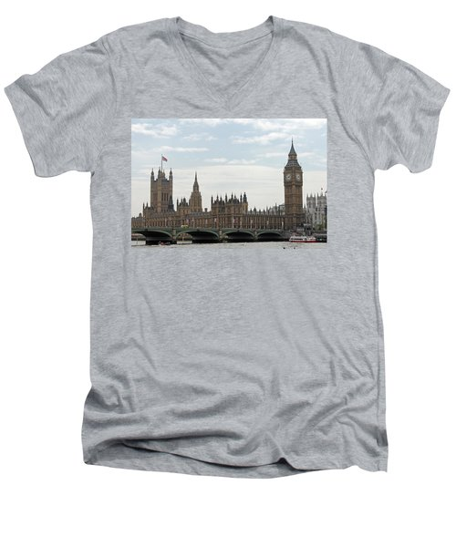 Houses Of Parliament Men's V-Neck T-Shirt by Tony Murtagh