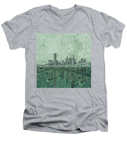 Houston Skyline Abstract 2 Men's V-Neck T-Shirt