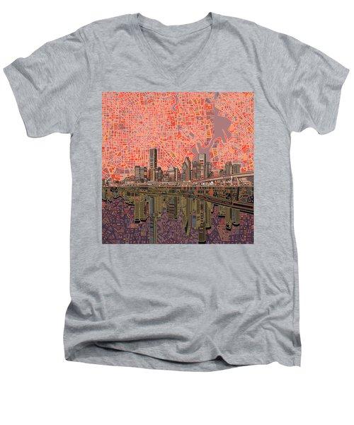 Houston Skyline Abstract 5 Men's V-Neck T-Shirt