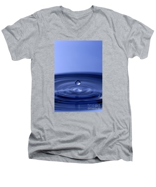 Hovering Blue Water Drop Men's V-Neck T-Shirt by Anthony Sacco