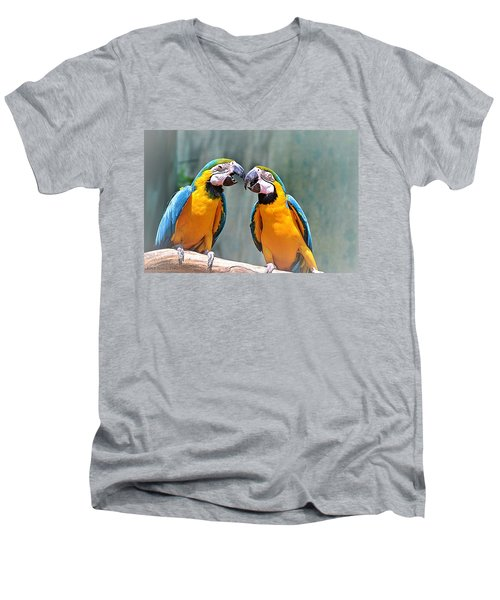 How About A Little Kiss Men's V-Neck T-Shirt by Tara Potts