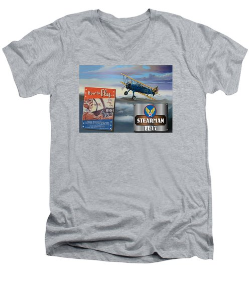How To Fly Stearman Pt-17 Men's V-Neck T-Shirt