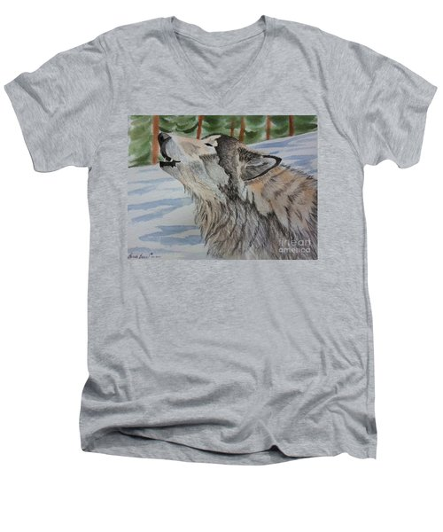 Howling Wolf In Winter Men's V-Neck T-Shirt