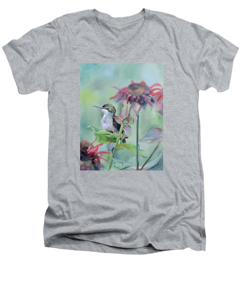 Hummingbird And Coneflowers Men's V-Neck T-Shirt