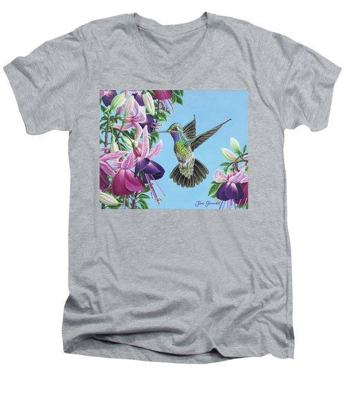 Hummingbird And Fuchsias Men's V-Neck T-Shirt by Jane Girardot