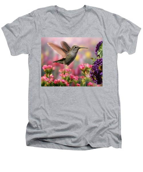 Hummingbird In Colorful Garden Men's V-Neck T-Shirt by William Lee