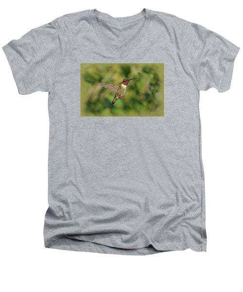 Hummingbird In Flight Men's V-Neck T-Shirt by Sandy Keeton