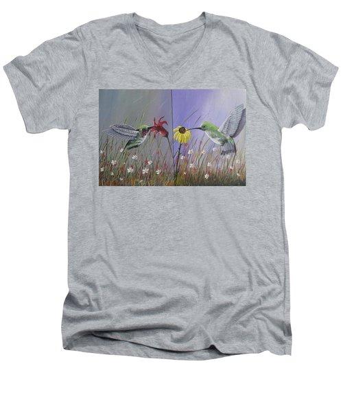 Hummingbird Pair Men's V-Neck T-Shirt