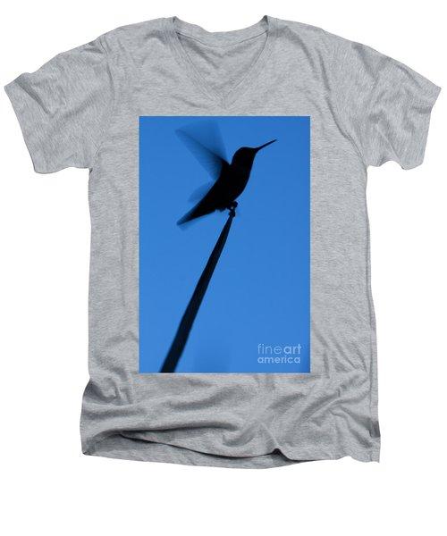 Men's V-Neck T-Shirt featuring the photograph Hummingbird Silhouette by John Wadleigh