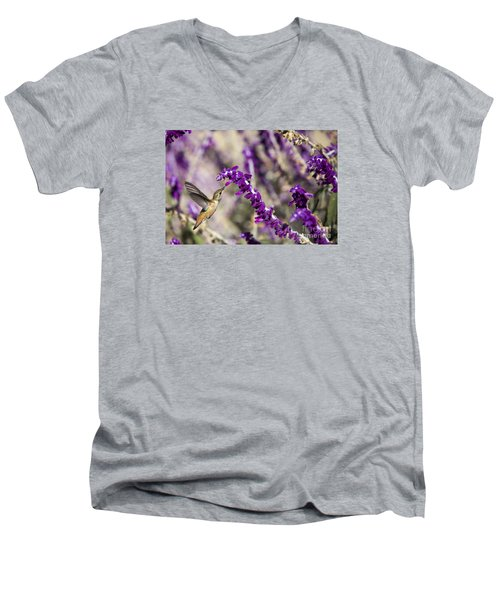 Hummingbird Collecting Nectar Men's V-Neck T-Shirt by David Millenheft