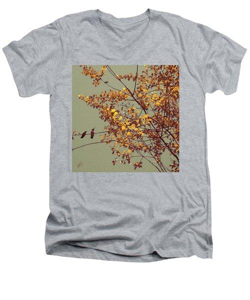Hummingbirds On Yellow Tree Men's V-Neck T-Shirt