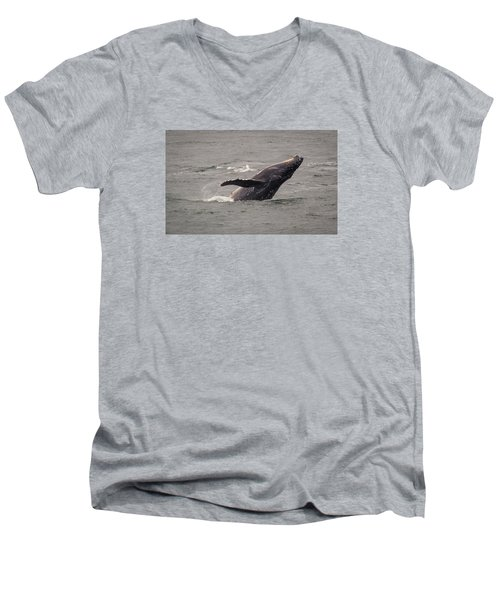 Humpback Whale Breaching Men's V-Neck T-Shirt