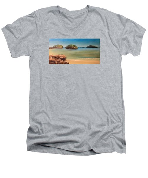 Hundred Islands In Philippines Men's V-Neck T-Shirt by Remegio Onia
