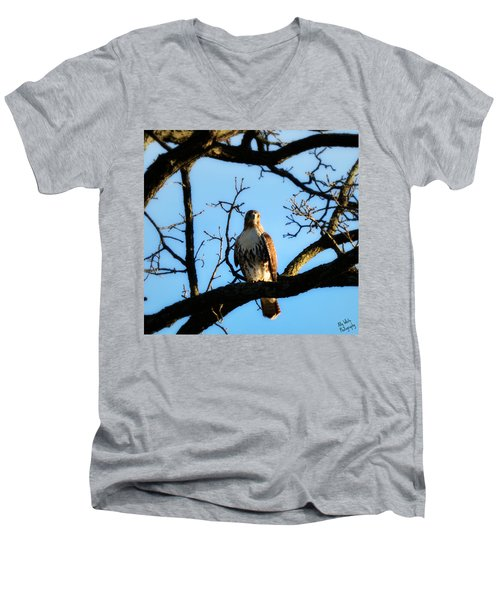 Men's V-Neck T-Shirt featuring the photograph Hungry by Ally  White