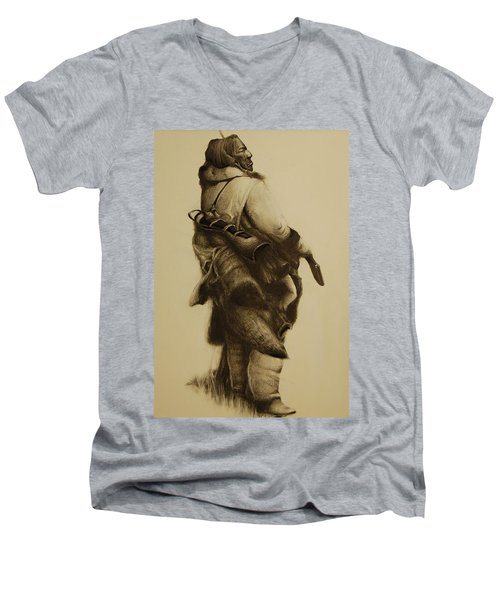 Hunter Men's V-Neck T-Shirt by Jean Cormier