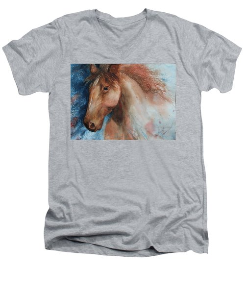 Men's V-Neck T-Shirt featuring the painting Hunter by Ruth Kamenev
