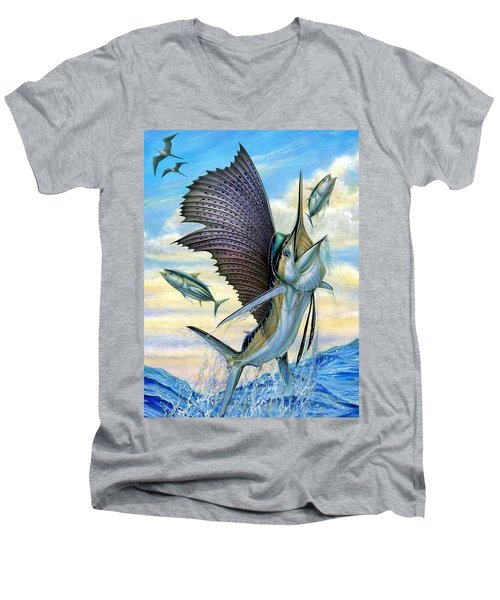 Hunting Of Small Tunas Men's V-Neck T-Shirt