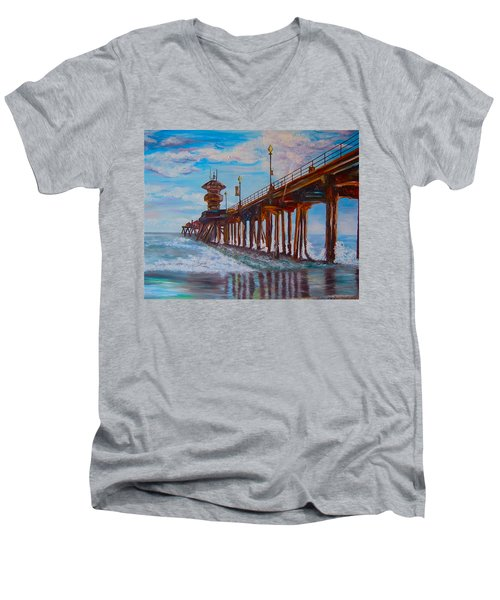 Huntington Beach Pier 2 Men's V-Neck T-Shirt