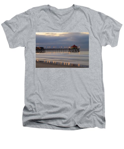 Huntington Beach Pier Morning Lights Men's V-Neck T-Shirt by Duncan Selby