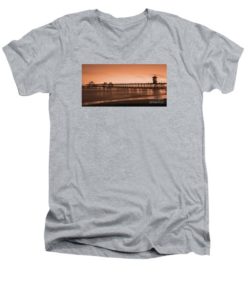 Huntington Beach Pier - Twilight Sepia Men's V-Neck T-Shirt
