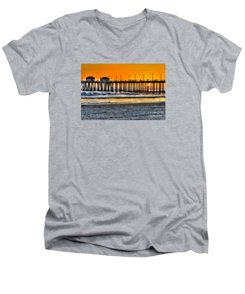 Huntington Beach Sunset Men's V-Neck T-Shirt by Jim Carrell
