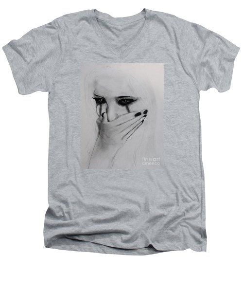 Men's V-Neck T-Shirt featuring the drawing Hurt by Michael Cross