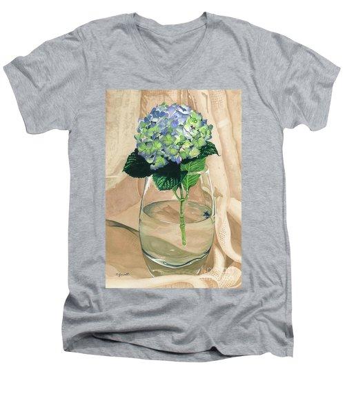 Hydrangea Blossom Men's V-Neck T-Shirt by Barbara Jewell