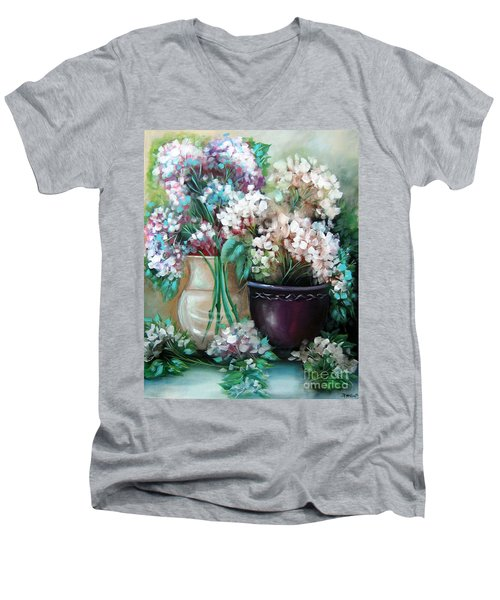 Men's V-Neck T-Shirt featuring the painting Hydrangea Melody by Patrice Torrillo