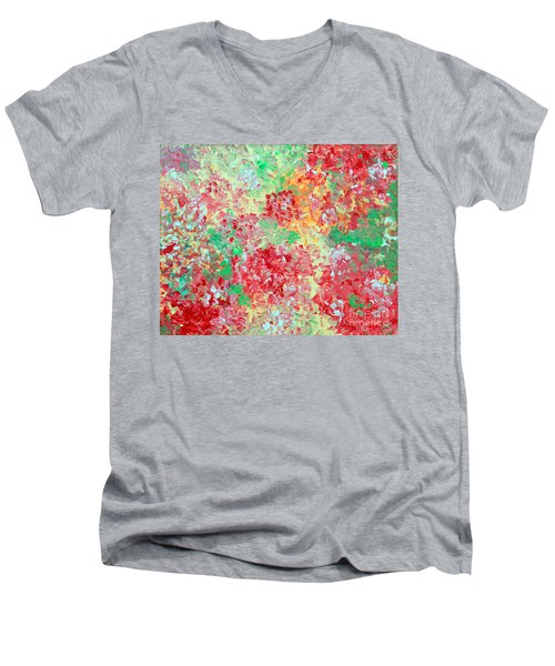 Men's V-Neck T-Shirt featuring the painting Hydrangeas II by Alys Caviness-Gober