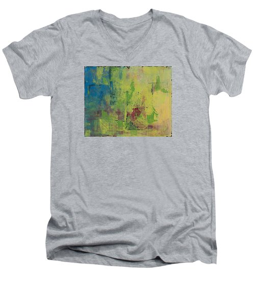 Curious Yellow Men's V-Neck T-Shirt by Lee Beuther