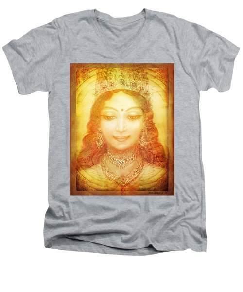 Men's V-Neck T-Shirt featuring the mixed media I Am That by Ananda Vdovic