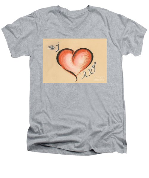 I Love Art Men's V-Neck T-Shirt by Teresa White