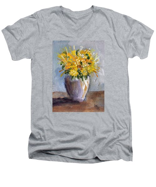 Men's V-Neck T-Shirt featuring the painting I Think Of Spring by Michael Helfen