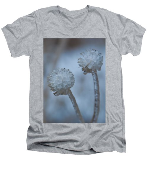 Ice-covered Winter Flowers With Blue Background Men's V-Neck T-Shirt