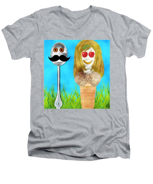 Men's V-Neck T-Shirt featuring the digital art Ice Cream Couple by Ally  White