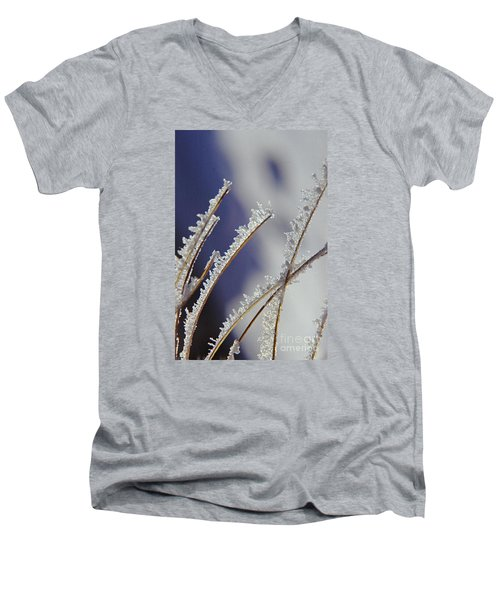 Men's V-Neck T-Shirt featuring the photograph Ice Crystals On Fireweed Fairbanks  Alaska By Pat Hathaway 1969 by California Views Mr Pat Hathaway Archives