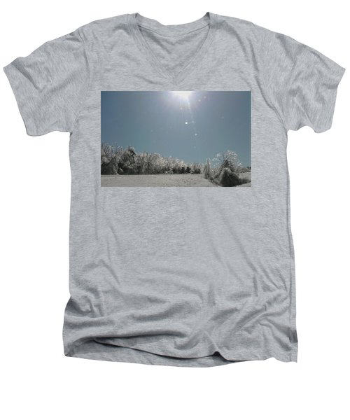 Men's V-Neck T-Shirt featuring the photograph Ice Kissed by Ellen Levinson